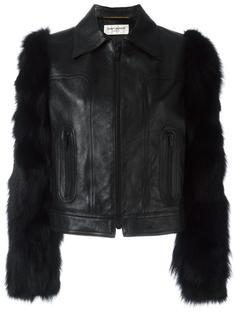 укороченная куртка с контрастными рукавами Saint Laurent