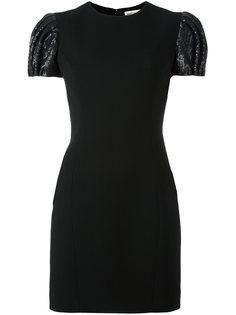 мини-платье с короткими пышными рукавами Saint Laurent