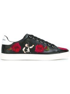 кеды с вышивкой цветов Dolce & Gabbana
