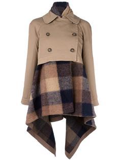 пальто с клетчатой отделкой Semicouture