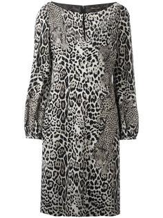 платье с длинными рукавами и леопардовым узором Roberto Cavalli