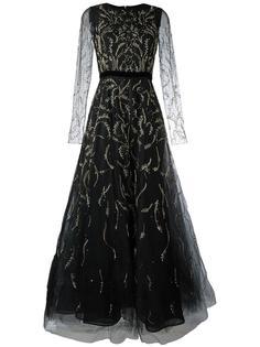 платье из тюля с вышивкой Oscar de la Renta