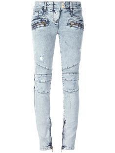 байкерские джинсы Balmain