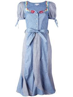 крестьянское платье с принтом губ и сигарет Olympia Le-Tan