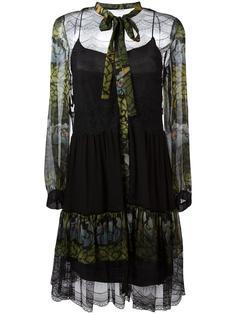 прозрачное платье с цветочным узором Alberta Ferretti