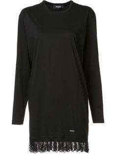 платье-футболка с кружевным подолом Dsquared2