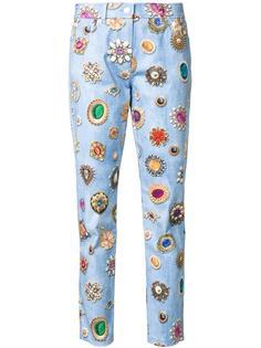 джинсы кроя слим с принтом Moschino