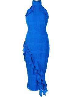 приталенное платье с рюшами Saloni
