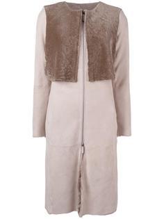 пальто на молнии без воротника Armani Collezioni