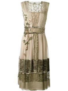 многослойное платье с цветочной вышивкой Alberta Ferretti