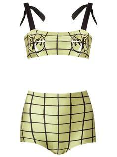 grid print bikini set Adriana Degreas