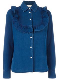 джинсовая рубашка с рюшами Maison Kitsuné