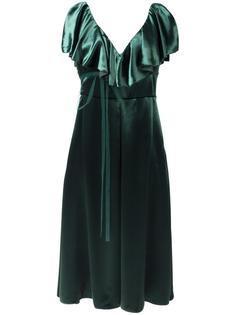 бархатное платье с оборками Valentino