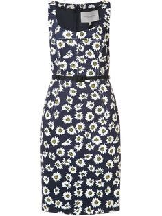 приталенное платье с цветочным узором Carolina Herrera