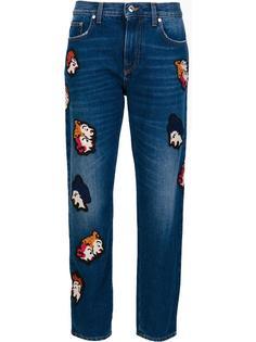укороченные джинсы  с заплатками MSGM