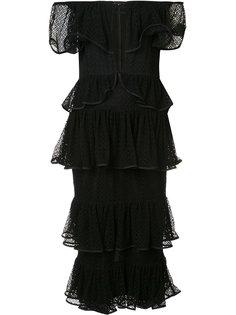 многоярусное платье с открытыми плечами Maki Oh