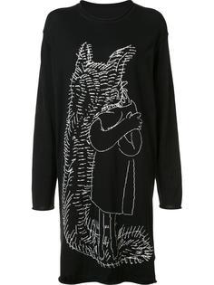 удлиненная футболка с вышивкой Yohji Yamamoto