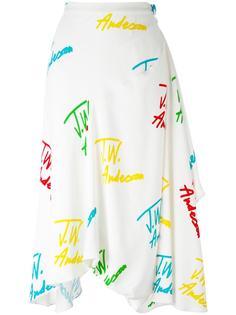 юбка с драпировками и узором из логотипов JW Anderson