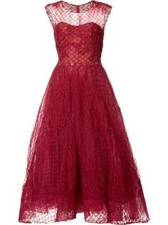 расклешенное платье с прозрачным топом Marchesa Notte