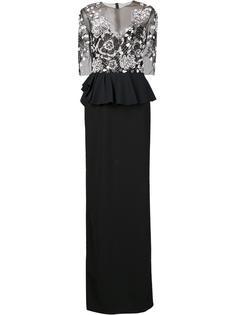 длинное платье с декорированным топом Marchesa Notte