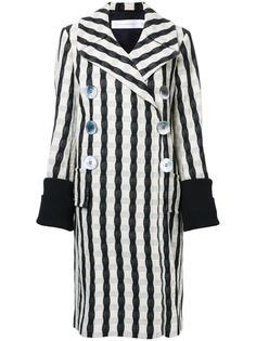 двубортное пальто в полоску Victoria Beckham