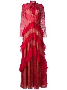 платье с оборками и кружевными вставками Zuhair Murad