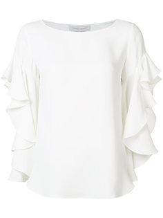 блузка с оборками на рукавах Carolina Herrera