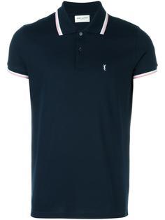 рубашка-поло с отделкой в полоску Saint Laurent