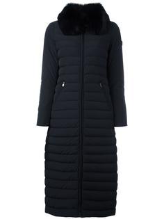 длинное пальто-пуховик с отделкой из лисьего меха Peuterey