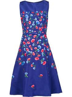 расклешенное платье с цветочной вышивкой Oscar de la Renta