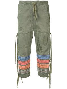укороченные брюки с вышитыми полосками Greg Lauren