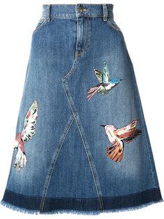 джинсовая юбка с заплатками в виде птиц Red Valentino