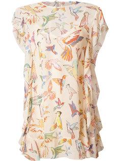платье шифт с принтом птиц Red Valentino