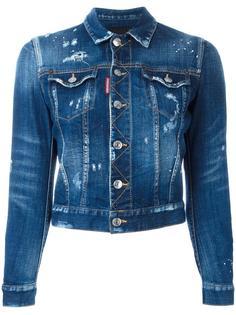 укороченная джинсовая куртка с рваными деталями Dsquared2