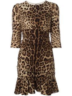 платье с леопардовым принтом и расклешенным подолом Dolce & Gabbana