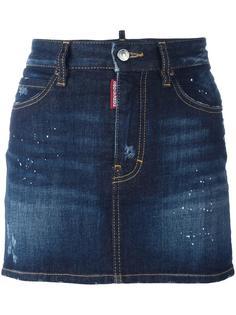 джинсовая юбка с эффектом разбрызганной краски Dsquared2