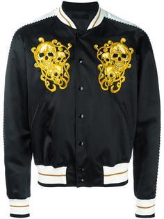 куртка бомбер с вышивкой черепов Alexander McQueen