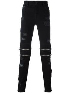 брюки с рваными деталями на молнии Marcelo Burlon County Of Milan