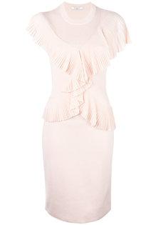 платье в рубчик с рюшами Givenchy