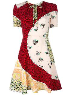 расклешенное платье со смешанным принтом Coach
