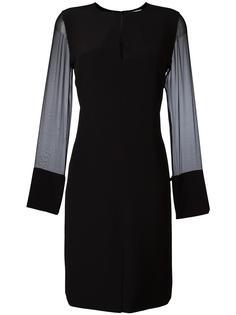 платье шифт с прозрачными рукавами Givenchy