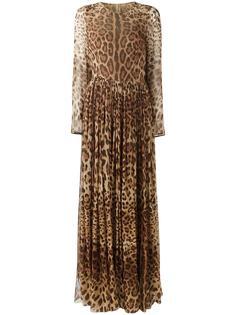 длинное платье с леопардовым принтом Dolce & Gabbana