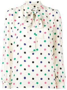 блузка Lavaliere с узором в горох Saint Laurent