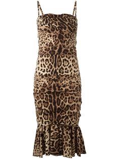 платье с баской и леопардовым узором Dolce & Gabbana