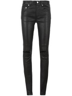 кожаные брюки с рваными деталями Saint Laurent