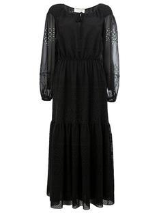 многоярусное платье с открытой вышивкой Saint Laurent