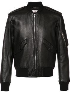 кожаная куртка-бомбер Saint Laurent