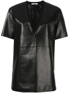 кожаная футболка с V-образным вырезом Givenchy