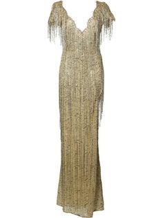 приталенное платье с бахромой Marchesa