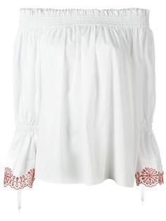 блузка с контрастной вышивкой Alexander McQueen